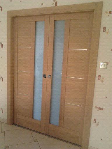 Menuiserie Figard - Fabrication sur mesure - Porte d'intérieure - Chêne blanchi vitrage opale- Vesou