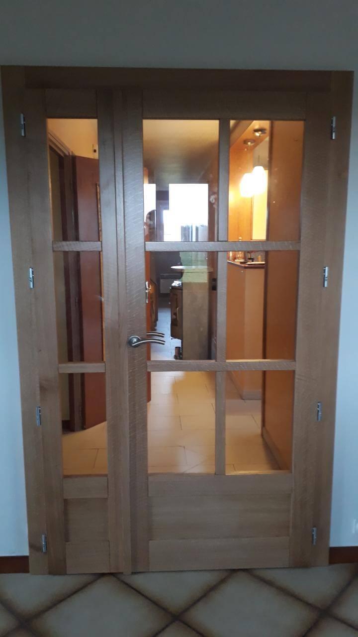 Menuiserie Figard - Fabrication sur mesure - Porte d'intérieure vitrée - Chêne - Vesoul